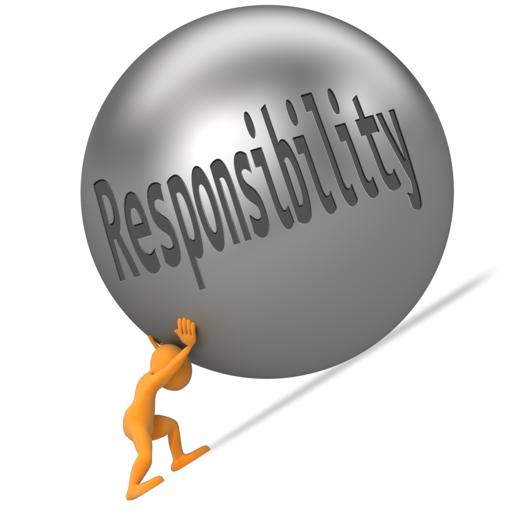 補習老師 - A man is push a ball written Responsibility